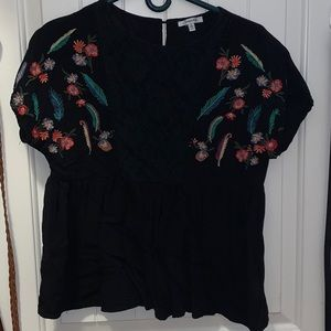 Black Peplum Fiesta Style Blouse with Lace Detail
